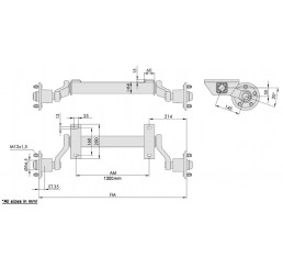 Άξονας τρέιλερ με μουαγιέ λαδιού WAP 1.30m - 750Kgr